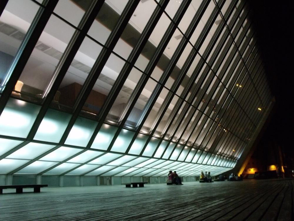 accent lighting along eastern facade